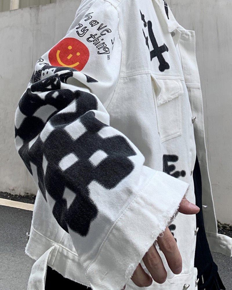 グラフィティペイントデニムシャツジャケットの画像3